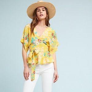 NWT Yumi Kim Yellow Floral Kimono Silk Wrap Top